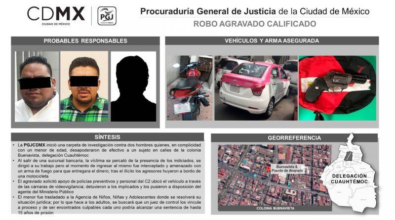 Presentará PGJCDMX Ante Juez de Control a 2 Hombres Relacionados con Robo a Cuentahabiente