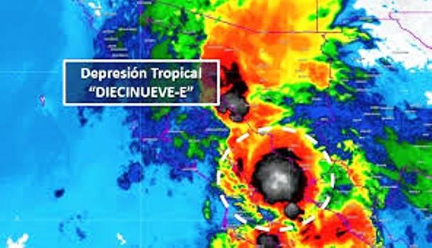 La Depresión Tropical 19-E Tocó Tierra Sureste de Isla Lobos, a 85 km sur-Sureste de Guaymas, Sonora