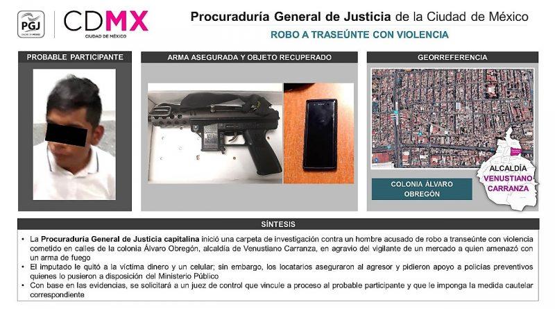Buscará PGJCDMX Vincular a Proceso a Hombre Acusado de Robo Agravado