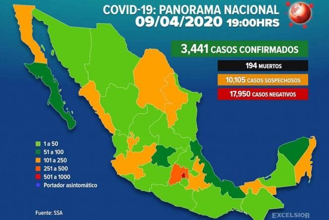 Suman 3,441 Casos Positivos de Covid-19 en México